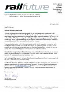 Railfuture membership acceptance letter